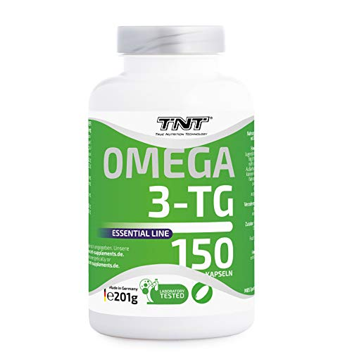 TNT True Nutrition Technology Omega 3 Kapseln Hochdosiert - Reines Fischöl mit EPA & DHA ohne Zusätze - Omega 3 Fettsäuren / 150 Caps