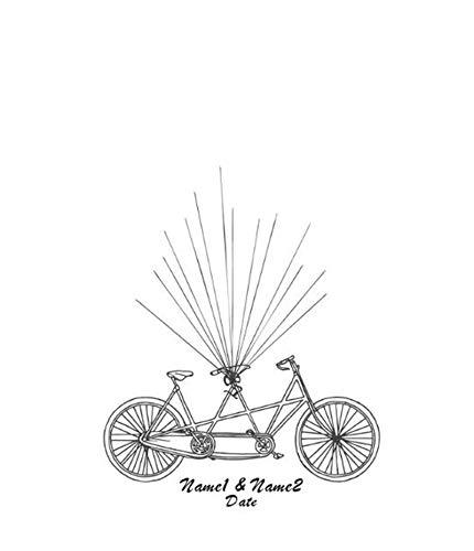NOVAGO Kundengebundene Fingerabdruckmalerei für Hochzeit, Jahrestag, Geburtstag, Taufe, Kommunion (60 X 75, Fahrrad) - Fahrrad Hochzeit