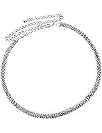 d0916c69204 MagiDeal Chaine de Taille Femme Creux Argent Ceinture Femme Métal  Accessoire Femme Réglable Plage Vacances