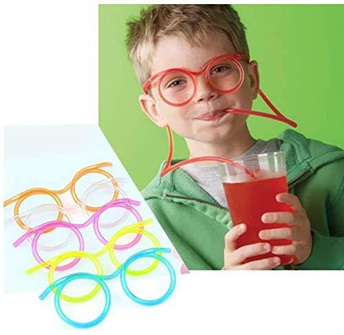 10 Stücke Spaß Brillen Stroh Party Trinkhalm Brille, für Kinder Geburtstagspartys/Bar/Feier/Weihnachtsfeier Farbe Nach dem Zufallsprinzip