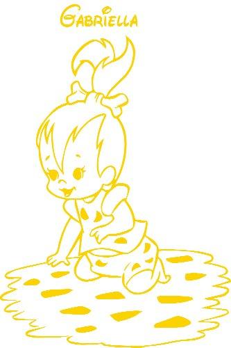Flintstones, Größe 40 cm Breite, 60 cm Höhe, Farbe Gelb Baby-Kinderzimmer, Wandaufkleber, Personalisierte Flintstones Aufkleber, Kinderzimmer Aufkleber, Flintstones decal, nach dem Kauf schicken Sie uns Mitteilung mit Ihrem Namen ()