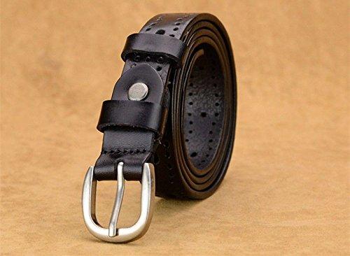 LONFENN Women Ms lady Belt cowhide leather hollowed pin jeans belt.