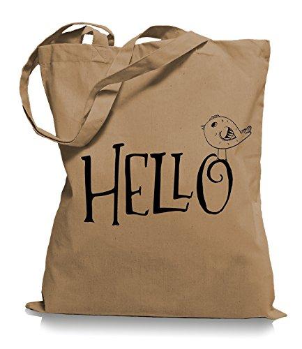 Ma2ca® Hello Bird - Borsa In Tessuto Di Juta Borsa Da Trasporto / Borsa Wm101 Caramell