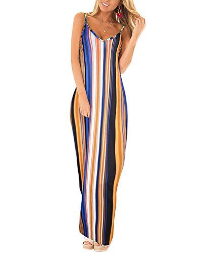 ACHIOOWA Maxikleid Damen V Ausschnitt ?rmellos Casual Gestreift Lange Sommer Strand Kleider Bunt Streifen-C11748 EU 38