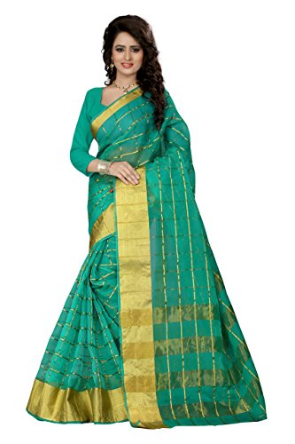 SeeMore Self Design Organza Turquoise Color Saree For Women With Blouse Piece