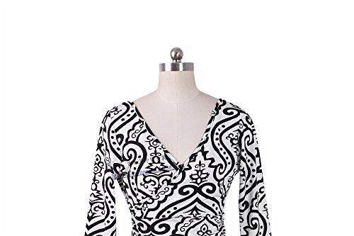 JOTHIN Nouvelle Taille Haute d'impression de Mesdames Robe de V Profond Manches de Sept points de Manchon Noir