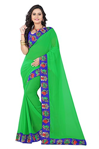 Aaradhya Fashion Women's Faux Georgette Kalamkari Saree (Green)