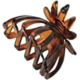 Tortoise shell colour fan shape hair claw clip.