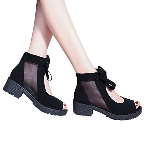 bobo4818 Sommer Frauen High Heels atmungsaktives Mesh Sandalen Fashion Solid Bow Zipper Schuhe Domens Reißverschluss Sandalen Kurze Stiefel einzelne Schuhe Bow Heels