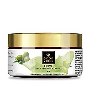Good Vibes Olive Nourishing Face Cream - 50 g - Skin Brightening and Anti Ageing for Dry, Rough and Dull Skin - Paraben and Mineral Oil Free