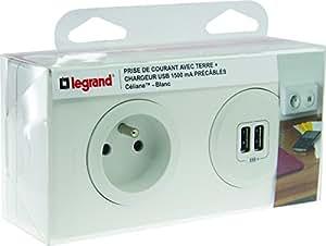 Legrand LEG200258 Prise double chargeur USB + prise précâblée céliane pose en saillie Blanc