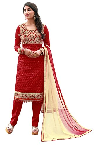 Justkartit Women's Semi-Stitched Red & Cream Colour Georgette Salwar Kameez For Party...