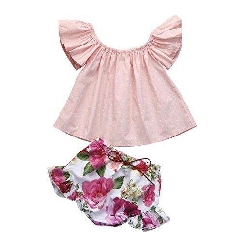 (2 Stück Bekleidung florale Ohne Arm Tops Bluse Hirolan Säugling Sommerkleidung Kleinkind Baby Mädchen Aufflackern Blumen Kleider Oberteile+Shorts Krabbelhosen Outfits (70, Rosa))