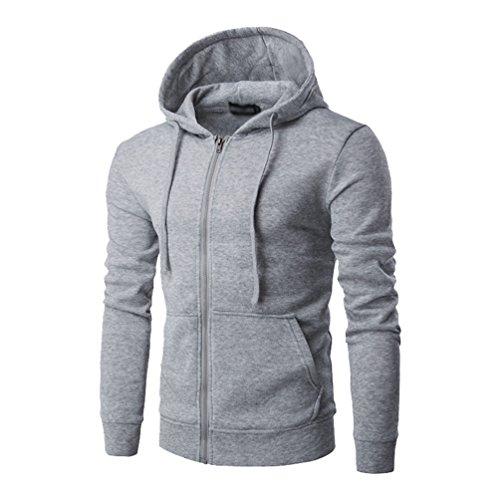 ZKOO-Felpa-con-Cappuccio-Uomo-Zip-Hooded-Sweatshirt-Manica-Lunga-Hoodie-Cappotto-Giacca-Pullover-Grigio-Chiaro
