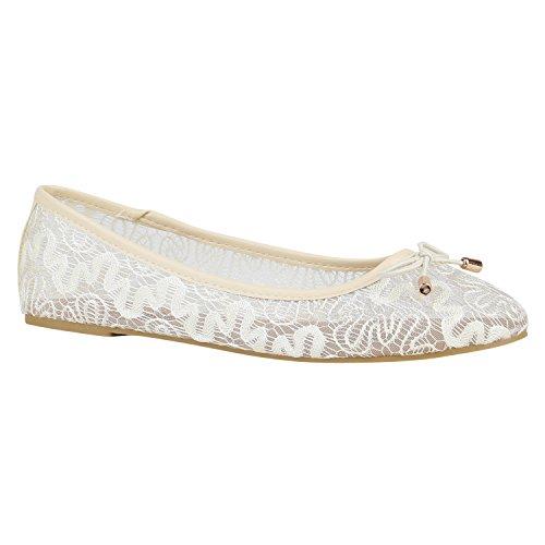 Spitze Damen Schuhe Ballerinas Häkeloptik Slipper Flats 157215 Creme Schleifen 37 Flandell -