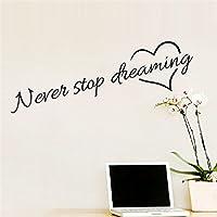Etiquetas Adhesivos de Pared del Frase Never Stop Dreaming Decorativos Frase Stickers Frases Negras Frases Paredes en El Dormitorio y Sala de Estar Decoración de la Pared