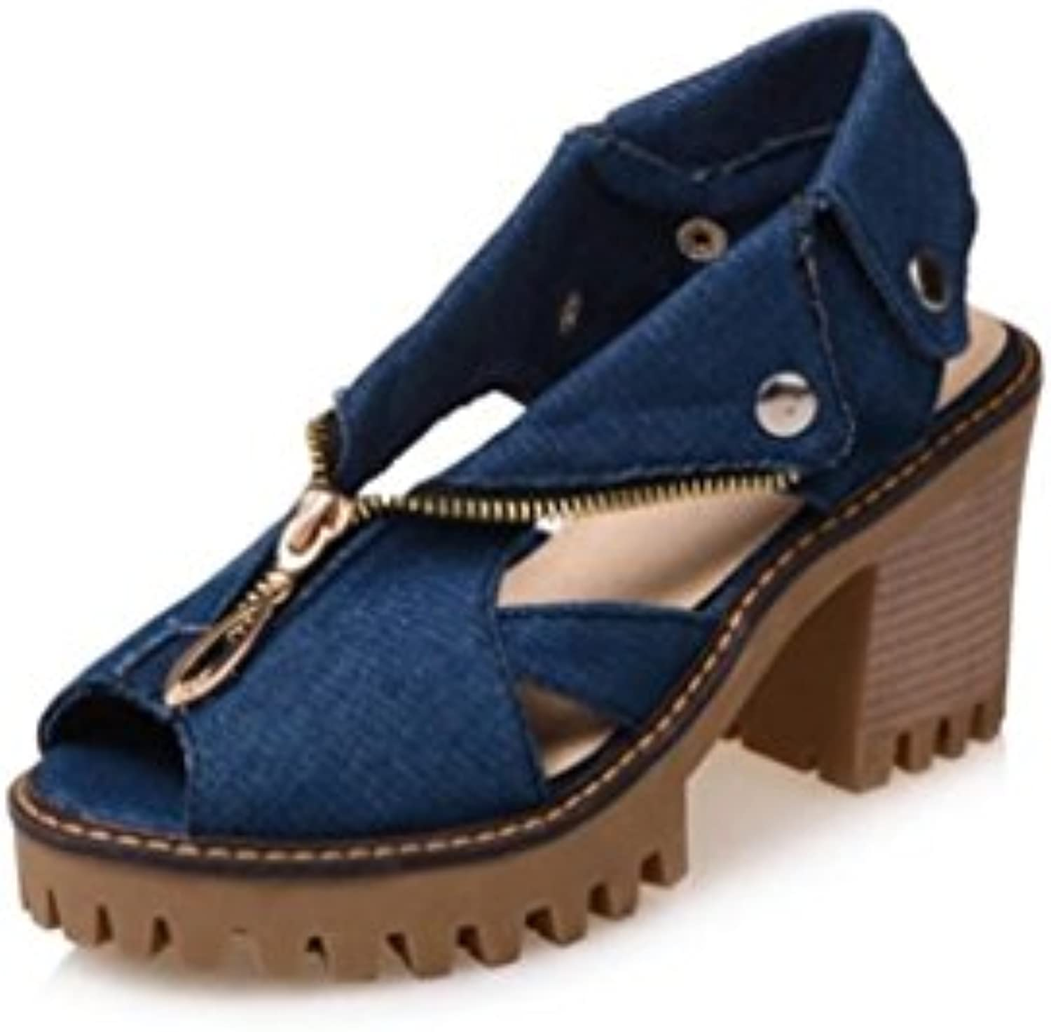 b32cfee519b NVLXIE Women s Sandals Summer Casual Casual Casual Fish Head Shoes Denim