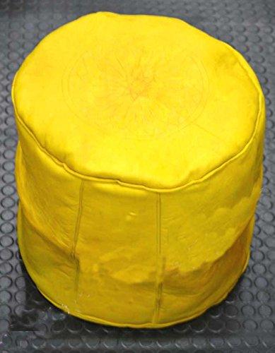Puff Glattleder pouff footstall Leder in verschiedenen Farben erhältlich (40 cm/35 cm, Amarillo) (Futon Leder)