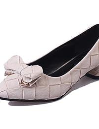 ZQ Zapatos de mujer-Tac¨®n Robusto-Tacones-Tacones-Oficina y Trabajo / Vestido / Casual / Fiesta y Noche-Semicuero-Negro / Amarillo / Rosa / , white-us9 / eu40 / uk7 / cn41 , white-us9 / eu40 / uk7 /