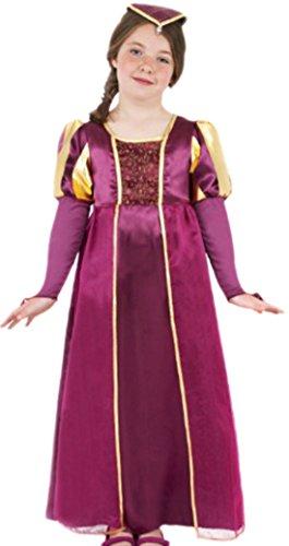 Fancy Ole - Mädchen Girl Kostüm Tudor mit Kleid und Kopfteil , 134/140, Violett