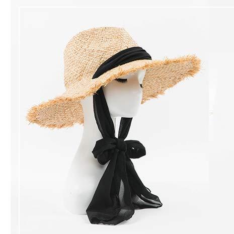 OECHWOZG Sonnenhüte für Frauen Black Ribbon Lace Up große Krempe Strohhut Outdoor Beach Summer Caps -