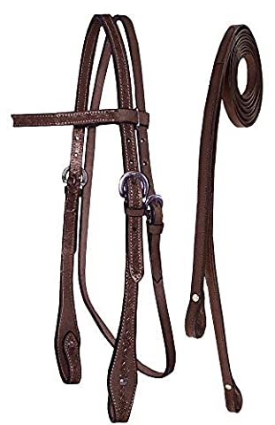 Tahoe Tack Barbwire Hand Tooled Horse Headstall with Split Reins, Mahogany, Full by Tahoe Tack