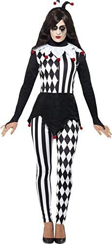 Smiffys 45202M - Damen Närrin Kostüm, Oberteil, Leggins und Haarband, Größe: 40-42, schwarz