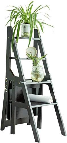 QTQZDD Klappstuhl Retro Bamboo Faltbare Multifunktions rutschfeste Kletter Notwendigkeit zu installieren, 4 Stufenleiter, 3 Farben Dual-Use (Farbe: Braun)