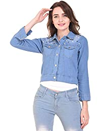 aec506cd41af7 DIMPY GARMENTS Women s Denim Stone Wash Jacket with Pearls (LightBlue