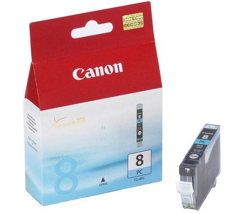 Cyan Canon Inkjet-patronen (Canon CLI-8 PC original Tintenpatrone  Foto Cian für Pixma Inkjet Drucker iP6600D-iP6700D-PRO9000-PRO9000MarkII)
