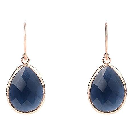 Rosegold Petite Drop Earring Sapphire Hydro