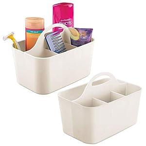 mDesign 2er-Set Badezimmer Korb mit Griff - als Kosmetik Organizer, Küchen Aufbewahrungsbox oder Handtuchhalter - kleine Bad Box aus robustem Kunststoff - cremefarben