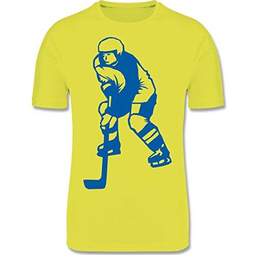 Shirtracer Sport Kind - Eishockey - 140 (9-11 Jahre) - Neon Gelb - F350K - Atmungsaktives Laufshirt/Funktionsshirt für Mädchen und Jungen