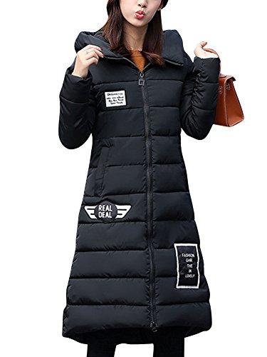 LaoZan Donna Inverno Spessore Caldo Cappotto Lunghe Incappucciato Giacca Trapuntato Cappotti Nero 2XL
