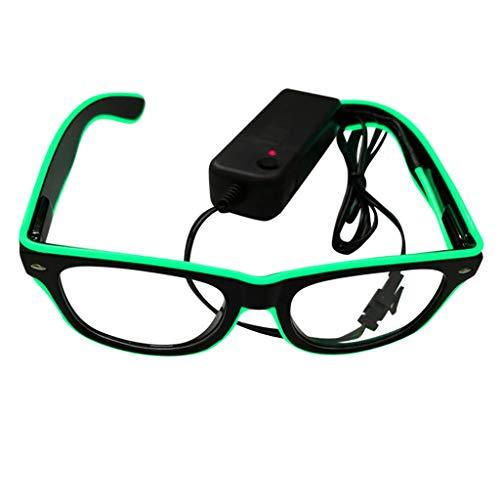 Makefortune 2021 EL Draht Neon Wire Cool Leuchtbrille Partybrille Club LED Brille für Masquerade Party Nacht Pub Bar Klub Rave Konzert Kostüm
