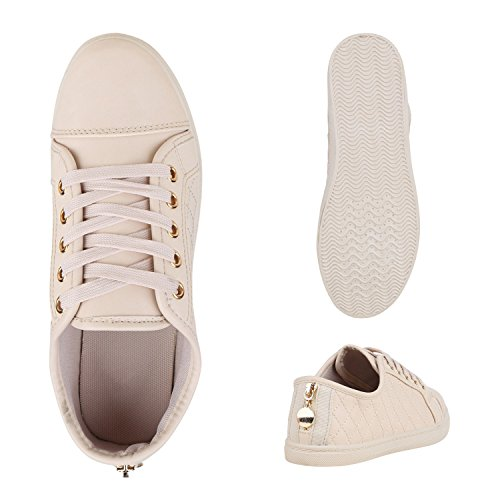 Sneakers Low Damen Lack & Glitzer Turnschuhe Freizeit Schuhe Creme Total