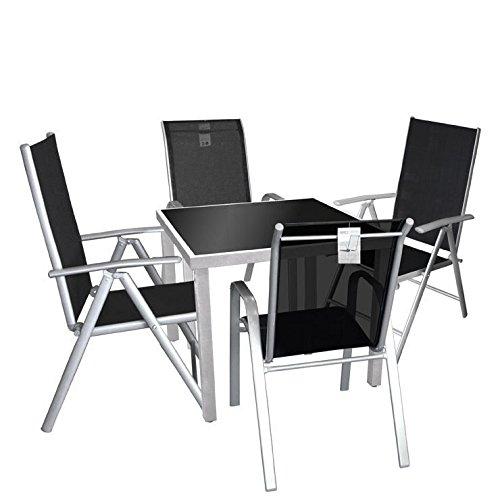 5tlg. Gartengarnitur Sitzgruppe Balkonmöbel Terrassenmöbel Set - Aluminium Glastisch, 90x90cm + 2x Hochlehner + 2x Stapelstuhl