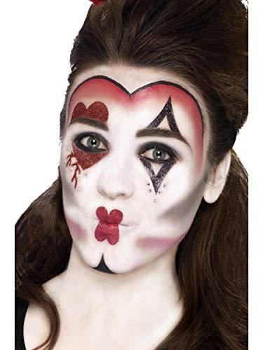 Fancy Me Damen Queen of Hearts Gesichtsfarbe Spezial FX Applikatoren Transfers Glitzer Edelsteine Halloween Kostüm Outfit Zubehör Make-up Kit