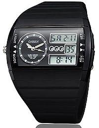 negro banda de silicona esfera de un reloj redondo reloj de pulsera de reloj del deporte del salto movimiento de la moda de Japón de los hombres , yellow