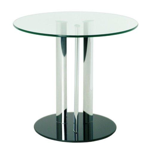 Haku Möbel 87567 Table Basse d'Appoint Tube d'Acier/Verre Trempé Chromé/Noir