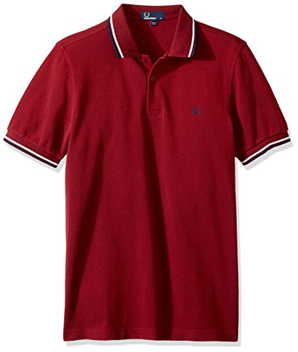 Fred Perry Herren Poloshirt Bramble Blood Oxforfd/Snow White/Carbon Blue