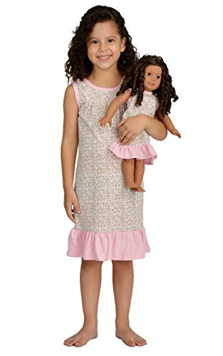 Girl and Doll Matching Outfit Clothes - Pajama Nightgown Set for Girl & Doll - Fits American Girl Dolls, Dollie & Me, Madame Alexander and other 18 inches Dolls - Girl Size 10 by Pink Butterfly Closet (18 Doll Zoll Alexander)