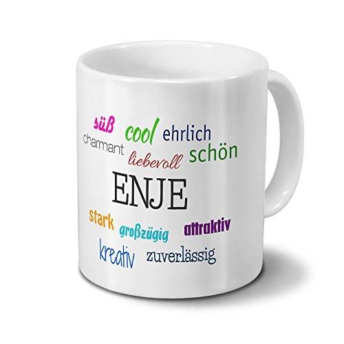 Tasse mit Namen Enje - Motiv Positive Eigenschaften - Namenstasse, Kaffeebecher, Mug, Becher, Kaffeetasse - Farbe Weiß