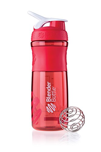 BlenderBottle Sportmixer Tritan Shaker | Protein Shaker | Wasserflasche | Diät shaker (820ml) - rot transparent (Blender-ball-sport-mixer)
