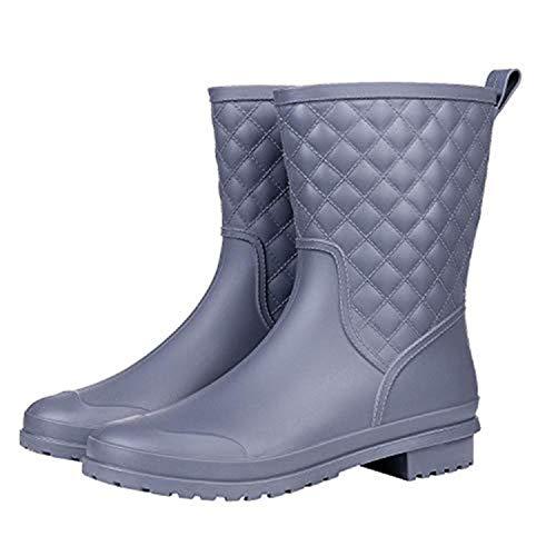 Halbhohe Gummistiefel Damen Kurz Frauen Regenstiefel Stiefeletten Gartenarbeit Mode Outdoor Boots Grau 40