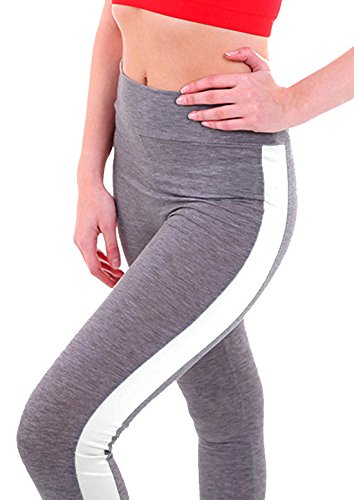 U-shot Damen Hohe Taille Stretch Jogginghose Fitness Training Sports Leggings Casual Hosen Hellgrau + Weiß