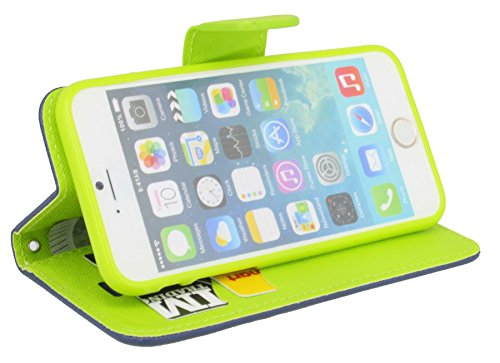 Iphone 6 / 6S // Buchtasche Hülle Case Tasche Wallet BookStyle mit STANDFUNKTION in Blau-Grün ( 2-Farbig ) @ Energmix Blau