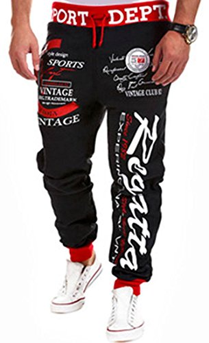 Jeansian Men's Casual Joggers Jogging Pants Sweat Tracksuit Bottoms Sports Baggy Trousers Dance Training Running Print S376