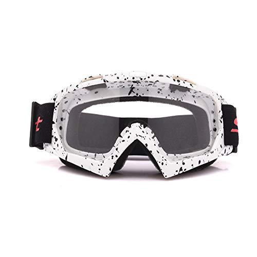 HS-GOGGLES Occhiali da Sole PE Full Frame montati sulla Testa UV400 a Prova di Sabbia Occhiali da Sci Ciclismo Occhiali da Sole Sportivi Unisex,Bianca
