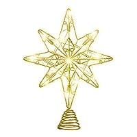 OSALADI Christmas Tree Topper, Glitter Metal Wire Star Tree Topper for Christmas Tree Decoration, Gold